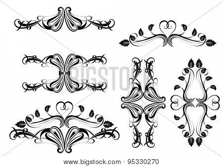 Black and white calligraphic design element.