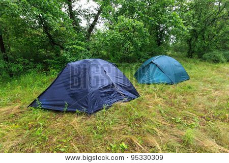 Tourist camp on meadow in rainy forest