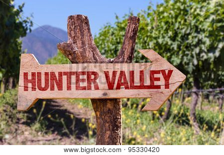 Hunter Valley wooden sign with winery background