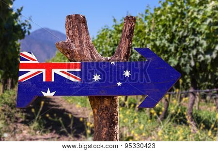 Australia Flag wooden sign with winery background