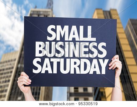 Small Business Saturday card with urban background