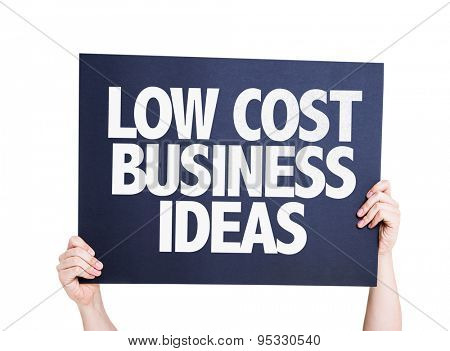Low Cost Business Ideas card isolated on white
