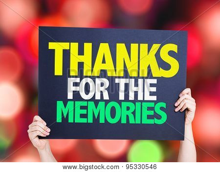 Thanks For The Memories card with bokeh background