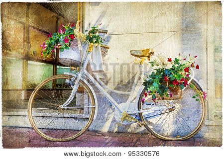 charming street  with bike and flowers, artistic vintage picture