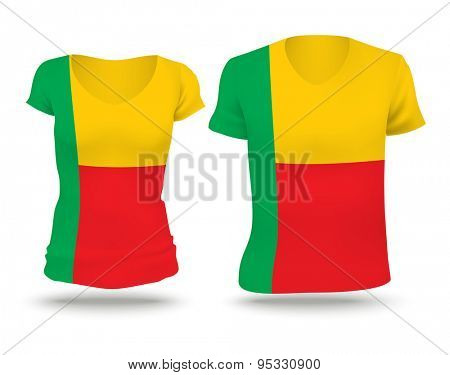 Flag shirt design of Benin - vector illustration