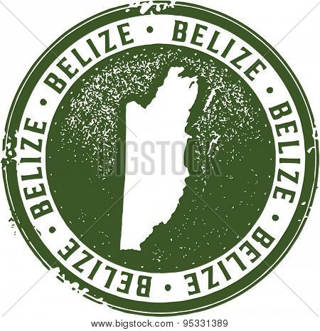 Vintage Belize Country Rubber Stamp