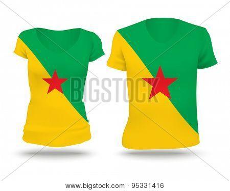 Flag shirt design of French Guiana - vector illustration