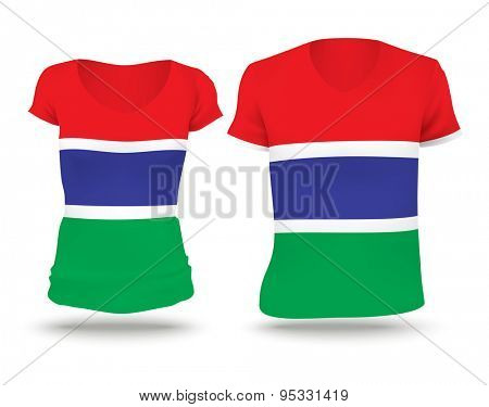 Flag shirt design of Gambia - vector illustration