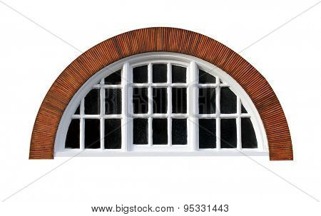 Oval window isolated on a modern red brick building.