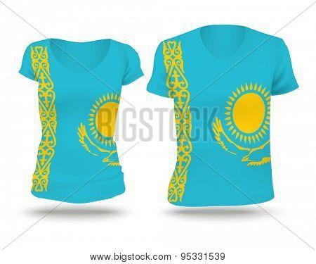 Flag shirt design of Kazakhstan - vector illustration