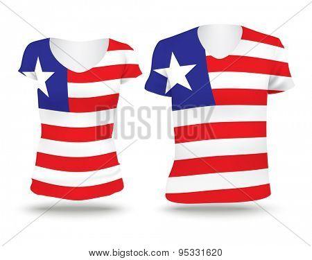 Flag shirt design of Liberia - vector illustration