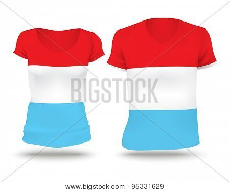 Flag shirt design of Luxembourg - vector illustration