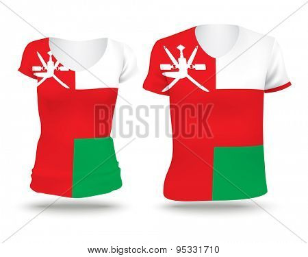 Flag shirt design of Oman - vector illustration