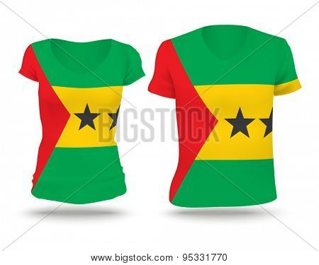 Flag shirt design of Sao Tome and Principe - vector illustration