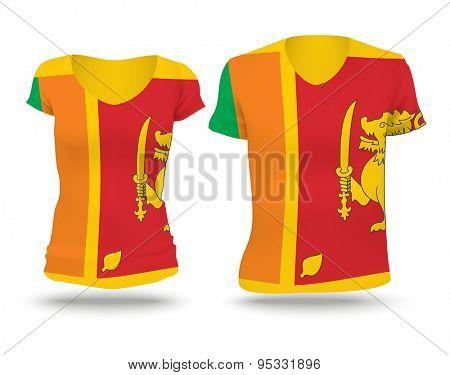 Flag shirt design of Sri Lanka - vector illustration
