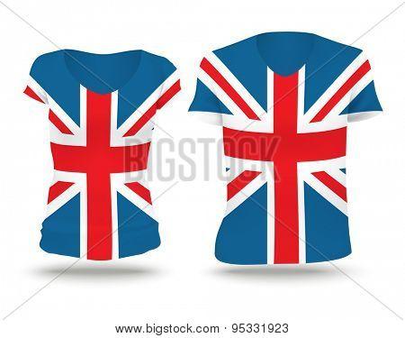 Flag shirt design of United Kingdom - vector illustration