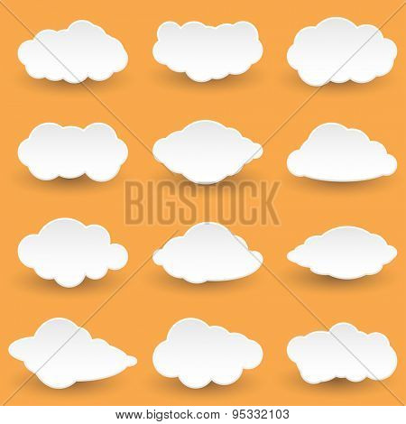 Set Icon Messages in the form of Clouds. Illustration.
