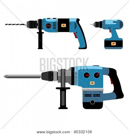 Illustration Building Tools Electric isolated on white background. Set icon.