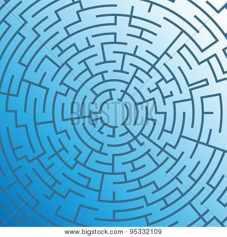 Labyrinth on blue background. Illustration