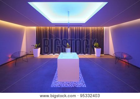 SOCHI, RUSSIA - JUL 27, 2014: Interior room in the spa with ice in the center in Hotel Radisson Blu Paradise Resort and Spa