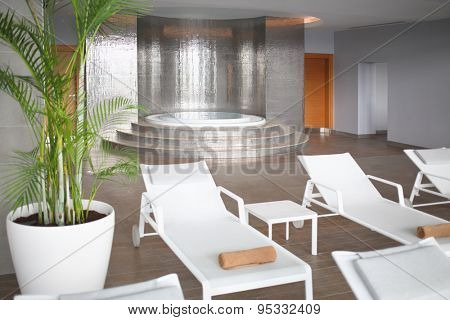 SOCHI, RUSSIA - JUL 27, 2014: The room with a round whirlpool and loungers in Hotel Radisson Blu Paradise Resort and Spa