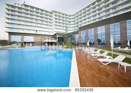 SOCHI, RUSSIA - JUL 27, 2014: Area of the Hotel Radisson Blu Paradise Resort and Spa near the outdoor pool