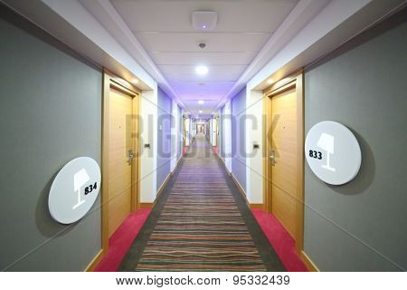 SOCHI, RUSSIA - JUL 27, 2014: Empty corridor with rooms in the Hotel Radisson Blu Paradise Resort and Spa
