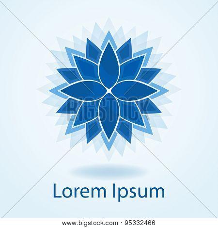 Abstract blue flower emblem or logo design vector template.