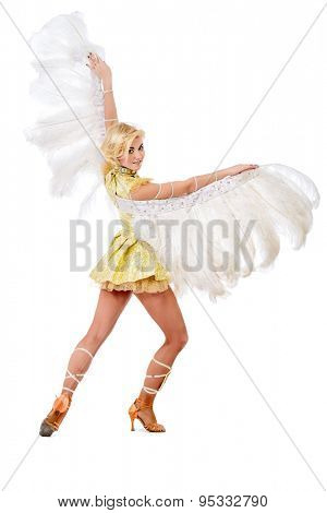 Elegant female dancer posing at studio in a beautiful costume with wings. Ballet dancer. Show-ballet. Carnival. Isolated over white.