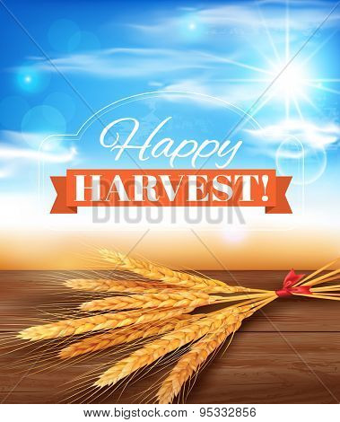 Harvest time poster design. Vector illustration.