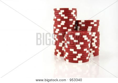 Red Casino Chips 3 pilhas de parte
