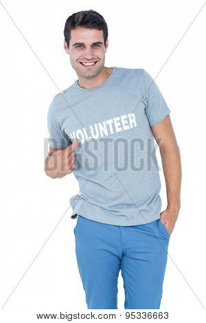 Handsome volunteer pointing himself