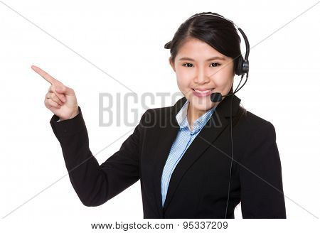 Call center agent and finger point up