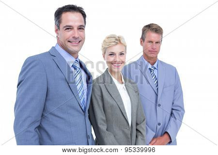 Senior businessman in a row with his business team