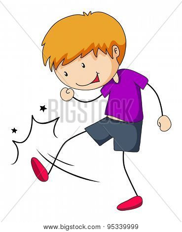 Poster of a boy doing kicking action on a white background