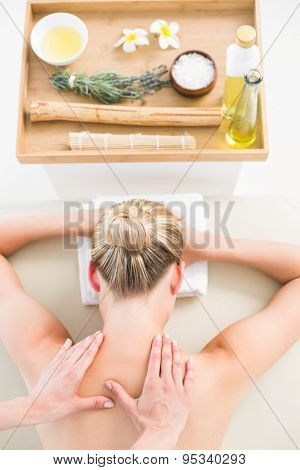 Beautiful blonde enjoying a herbal compress massage at the health spa