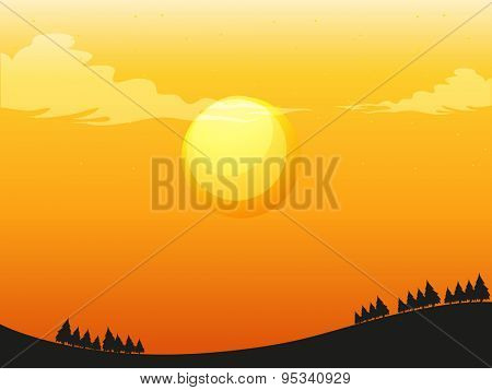 Sunset silhouette illustration in evening