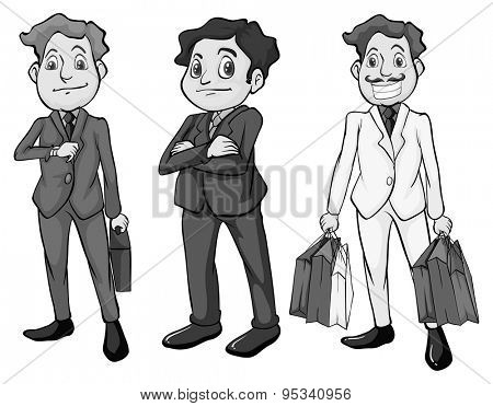 Men in formal attire illustration in black and white