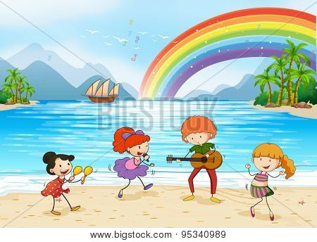 Children singing and dancing at the beach side