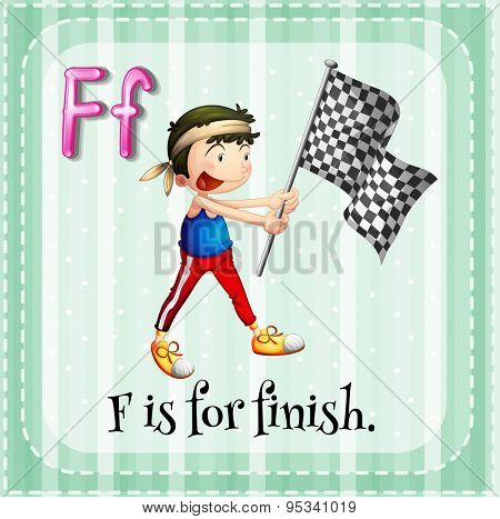 Flashcard of alphabet F is for finish
