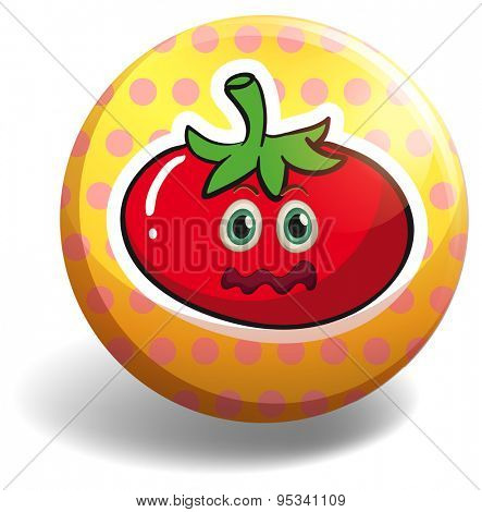 Yellow badge with a frightened tomato on it
