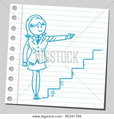 Businesswoman pointing towards stairs