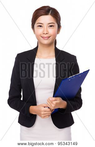 Business woman hold with clipboard