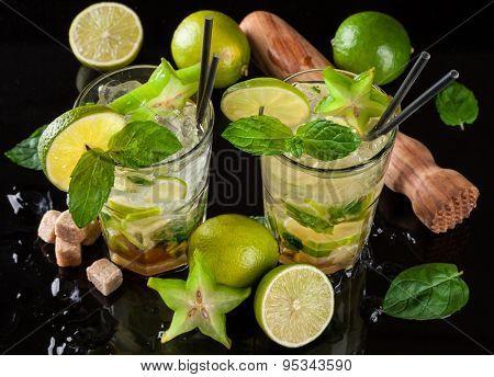 Mojito drinks served on black stone