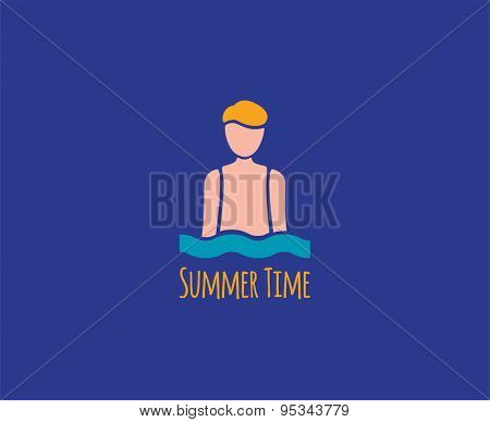 Abstract vector element. Summer man in sea waves logo template. Stock illustration for design