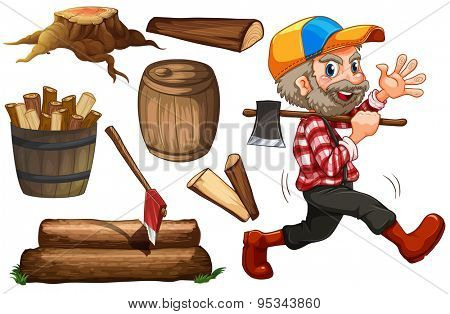 Set of lumberjack and chopped wood