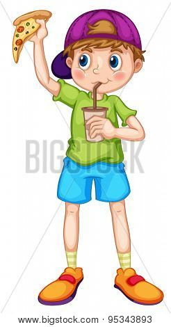 Little boy eating pizza and drinking from a cup