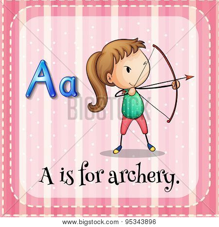 Flashcard letter A is for archery