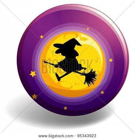 Silhouette witch on broom stick flying over the moon