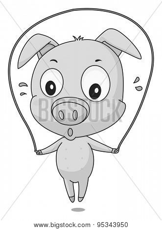 Cute little pig jumping on the rope